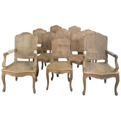 Set of 10 French Louis XV Caned Dining Chairs Includes 2 Armchairs