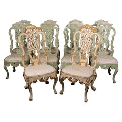 Set of 10 French Louis XV Carved Paint Decorated Gilded Dining Chairs circa 1940