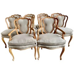 Set of 10 French Louis XV Style Dining Chairs