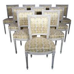 Set of 10 French Louis XVI Shield Back Dining Chairs, circa 1920-1940