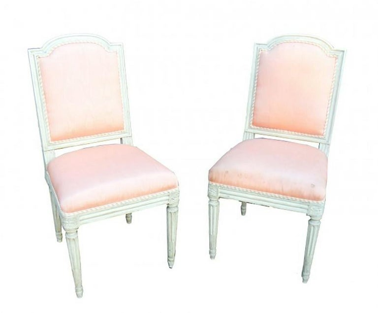Set of 10 French Louis XVI Style Carved and Painted Side Chairs In Good Condition For Sale In Dallas, TX