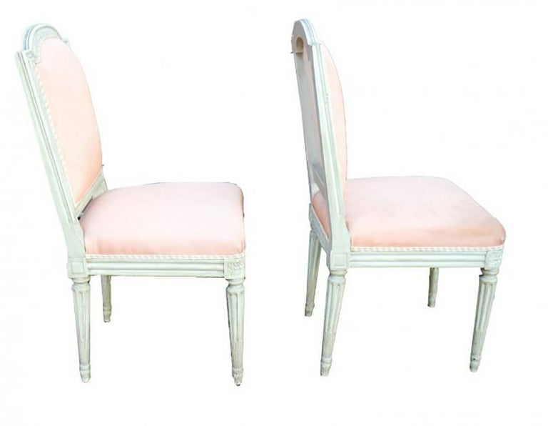 Wood Set of 10 French Louis XVI Style Carved and Painted Side Chairs For Sale