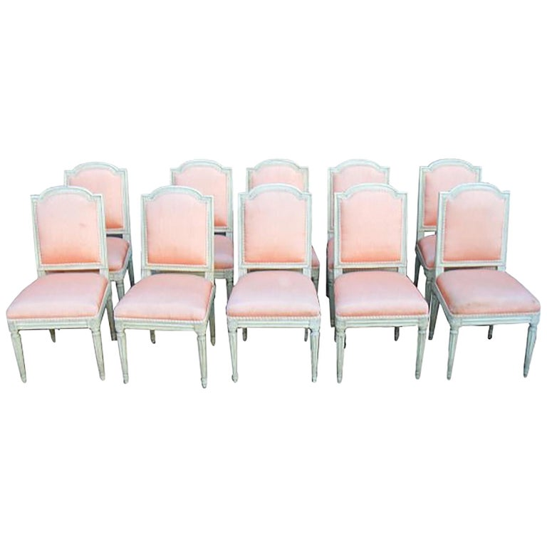 Set of 10 French Louis XVI Style Carved and Painted Side Chairs For Sale