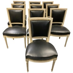 Set of 10 French Louis XVI Style Dining Chairs