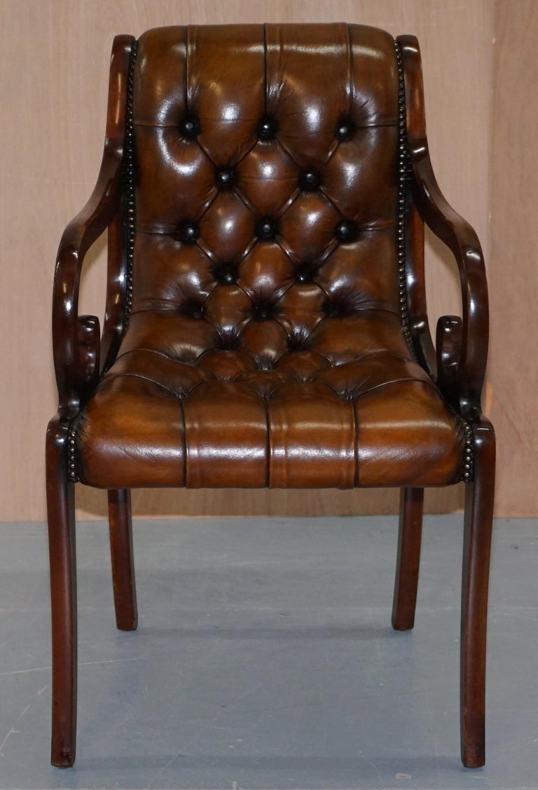 Set Of 10 Fully Restored Chesterfield Dining Chairs Whisky Brown Leather Ten Set At 1stdibs