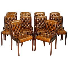 Set of 10 Fully Restored Chesterfield Dining Chairs Whisky Brown Leather Ten Set