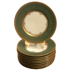 Set of 10 Green and Gold Encrusted Accent Plates, by Sommer & Matchak
