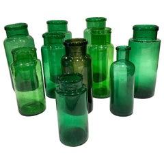 Set of 10 Green Antique Glass Jars, circa 1880, UK