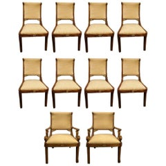 Set of 10 Grosfeld House Neoclassical Hollywood Regency Style Dining Chairs