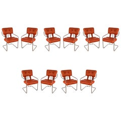 Set of 10 Guido Faleschini for Pace Italian Midcentury Armchairs