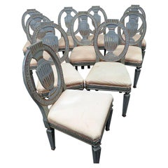 Set of 10 Swedish or Gustavian Painted & Gilded Style Side Dining Chairs