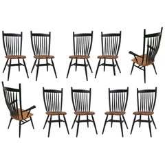 Set of 10 Handcrafted Studio Bent Chairs by Fabian Fischer, Germany, 2019