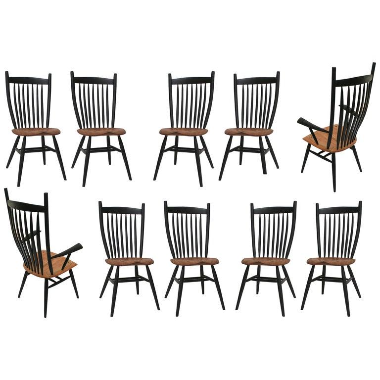 Set of 10 Handcrafted Studio Bent Chairs by Fabian Fischer