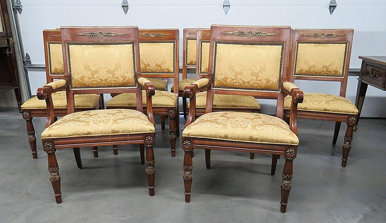Set Of Ten Henredon Empire Style Dining Chairs With Nail Head Trim And Bronze Accents