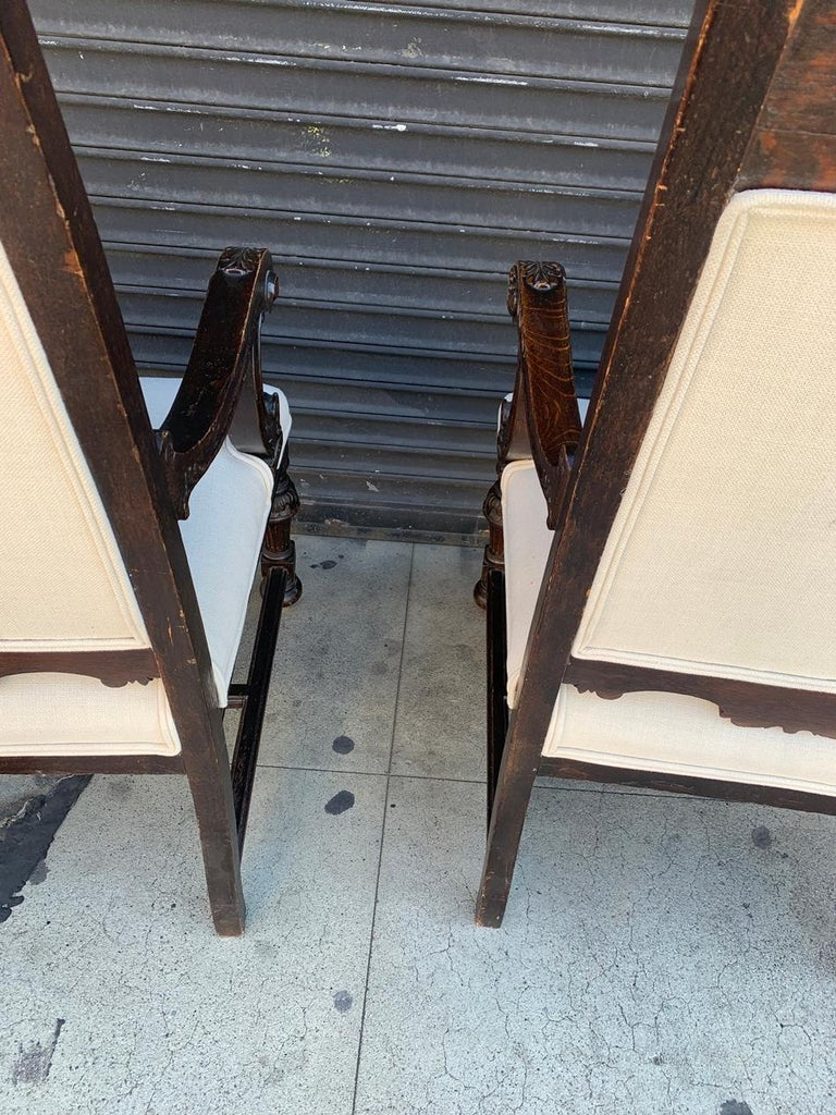 Set of 10 High Back Chairs with Carved Wooden Frames For Sale 4