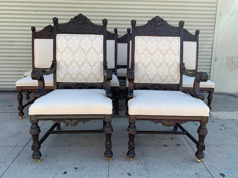 Set of 10 High Back Chairs with Carved Wooden Frames For Sale 8