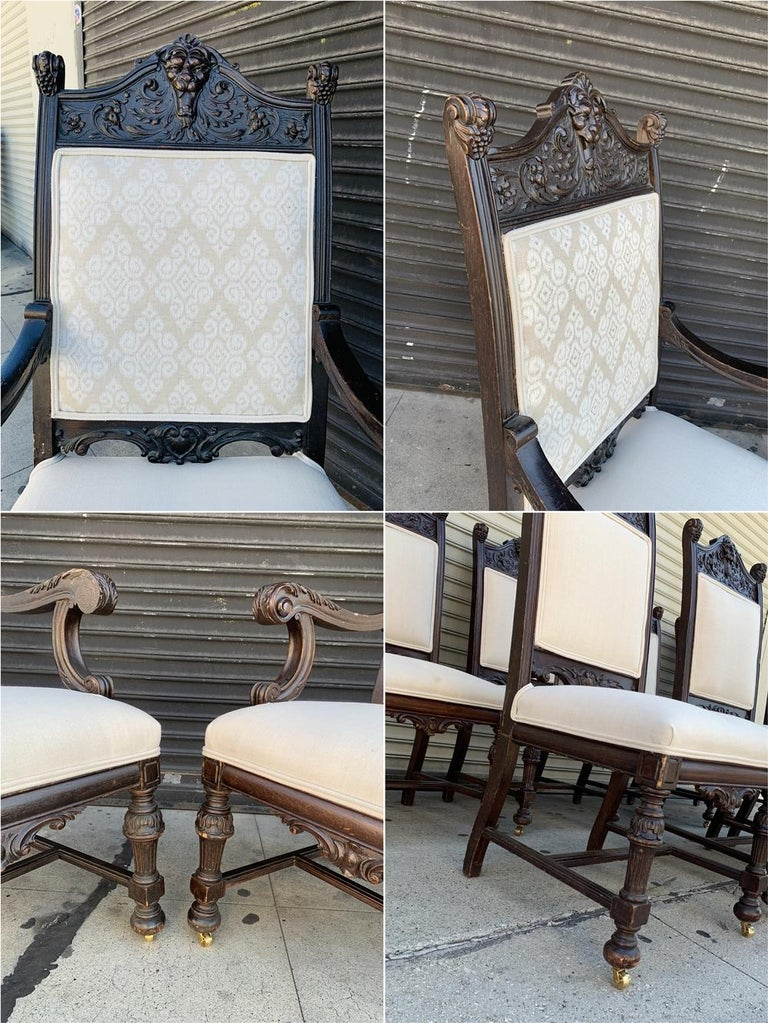 Set of 10 High Back Chairs with Carved Wooden Frames For Sale 10