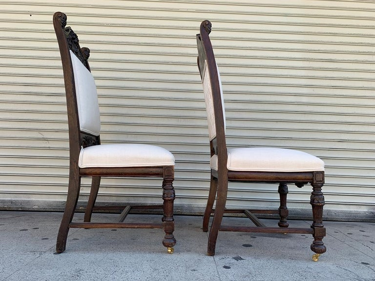 Set of 10 High Back Chairs with Carved Wooden Frames For Sale 11