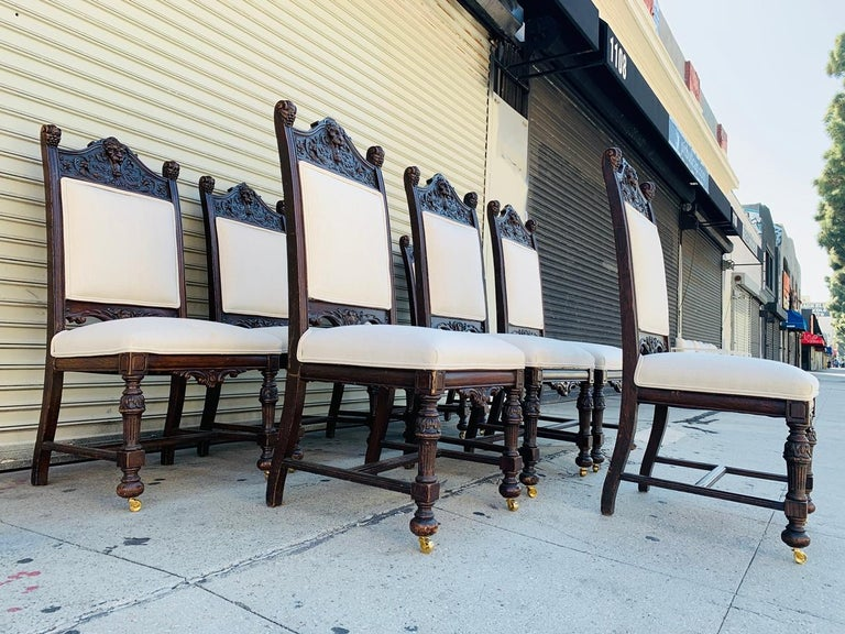 Louis XIV Set of 10 High Back Chairs with Carved Wooden Frames For Sale