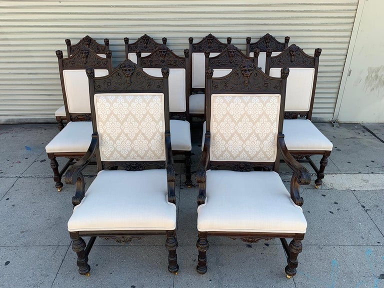 North American Set of 10 High Back Chairs with Carved Wooden Frames For Sale