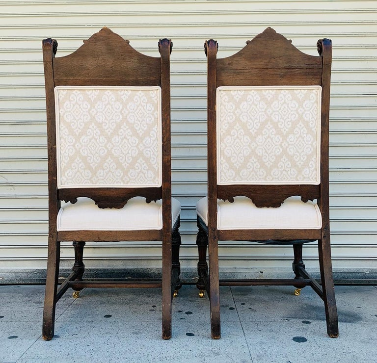 Set of 10 High Back Chairs with Carved Wooden Frames In Good Condition For Sale In Los Angeles, CA