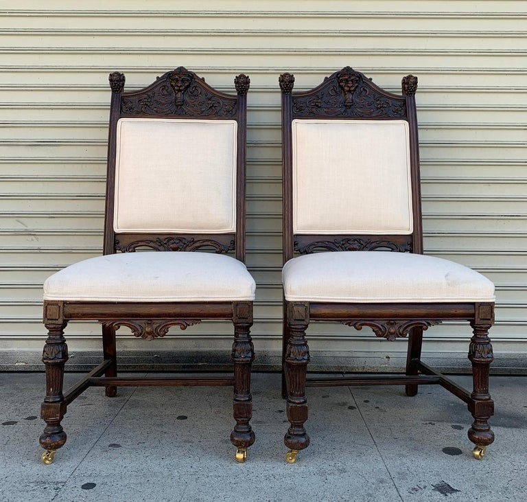 Early 20th Century Set of 10 High Back Chairs with Carved Wooden Frames For Sale
