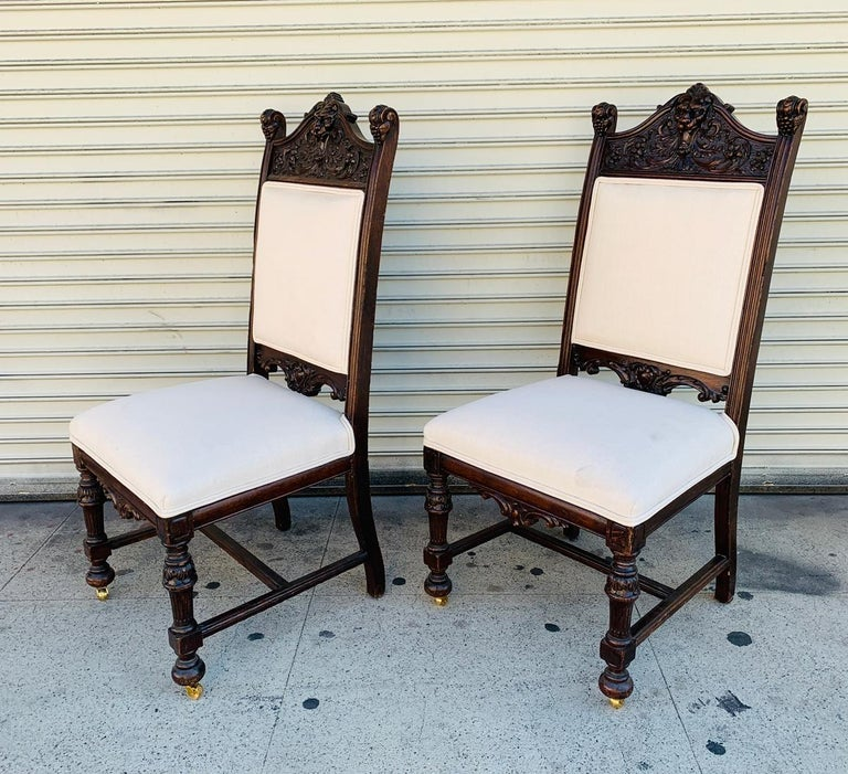 Upholstery Set of 10 High Back Chairs with Carved Wooden Frames For Sale