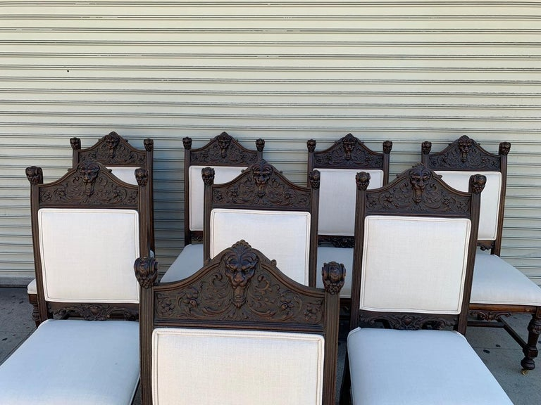 Set of 10 High Back Chairs with Carved Wooden Frames For Sale 2