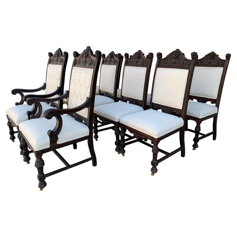 Set of 10 High Back Chairs with Carved Wooden Frames For Sale