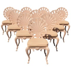 Set of 10 Hollywood Regency Aluminum Shell Back Grotto Patio Chairs by Tropitone