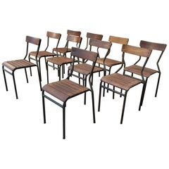 Set of 10 Industrial Iron Stackable and Elmwood Seat Chairs, circa 1930