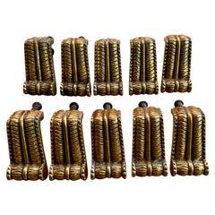 Set of 10 Italian Brass Drawer or Door Handles or Pulls, circa 1940's - 50's