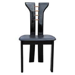 Set of 10 Italian Gloss Black Modern Dining Chairs Roche Bobois Pierre Cardin