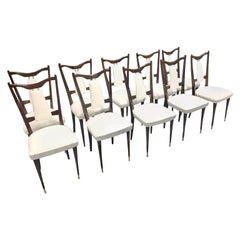 Set of 10 Italian Midcentury Dining Chairs New Leather Cover