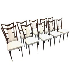 Set of 10 Italian Midcentury Dining Chairs White Leather