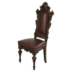 Set of 10 Italian Renaissance Style Walnut and Leather  High Back Dining Side