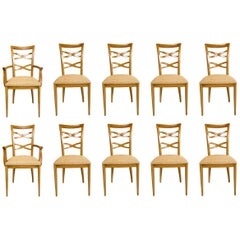 Set of 10 Custom Dining Chairs in the style of Jan Showers