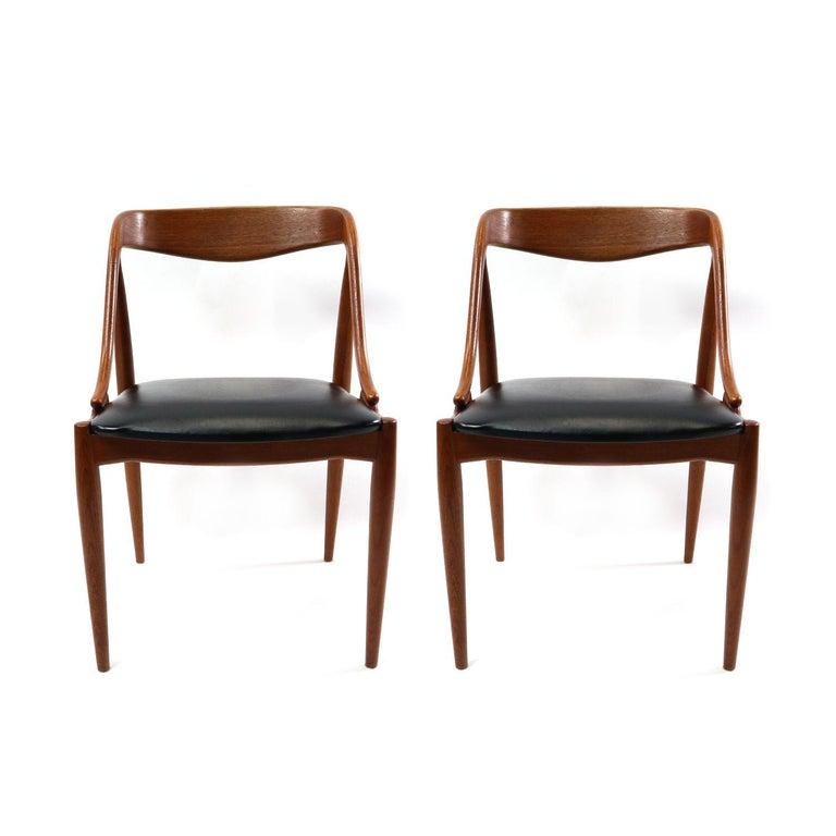 Faux Leather Set of 10 Johannes Andersen for Uldum Møbelfabrik Danish Teak Dining Chairs