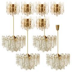 Set of 10 Kalmar Ice Glass Light Fixtures, 6 Wall Scones and 4 Chandeliers