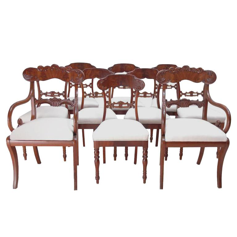 Set of 10 Antique Swedish Karl Johan Dining Chairs in Mahogany w/ Upholsterery
