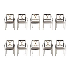 Set of 10 Karl Springer Dining Chairs
