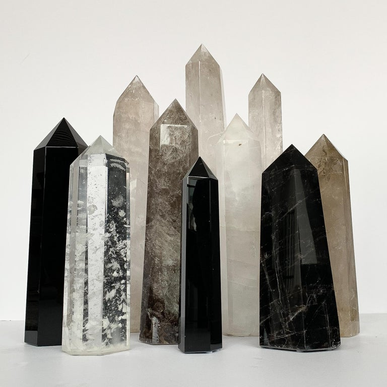 Set of 10 Large Quartz and Obsidian Crystal Obelisks In Excellent Condition For Sale In Chicago, IL