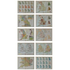 Set of 10 Large Scale Vintage Maps of the United Kingdom, circa 1900