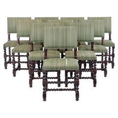 Set of 10 Late 19th Century Carved Oak Dining Chairs