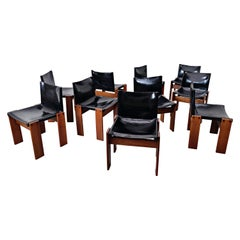 """Set of 10 Leather Chair Model """"Monk"""" by Afra and Tobia Scarpa for Molteni, 1973"""