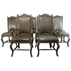 Set of 10 Leather Upholstered French Dining Chairs