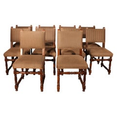 Set of 10 Louis XIII Style Chairs in Walnut