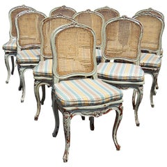 Set of 10 Louis XV Style Dining Side Chairs