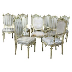 Set of 10 Louis XVI Style Dining Room Chairs