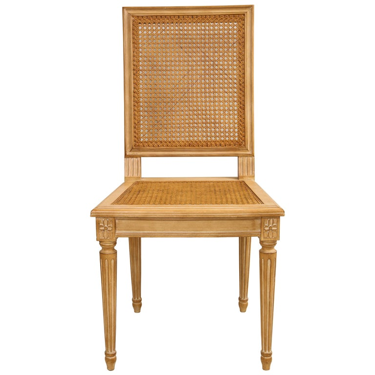 Set of 10 Louis XVI Style Hand-Caned Dining Chairs For Sale